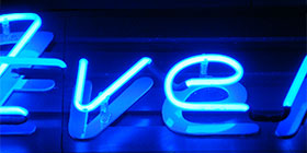Neon letters with single contour.