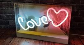 """Custom neon sign"" in acrylic box"