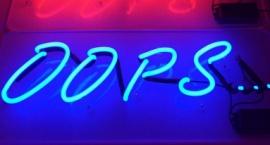 """Oops"" neon sign"