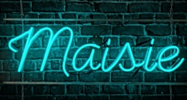 """Maisie"" custom neon logo sign"