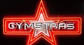 """Gymstars"" custom neon sign on printed background"